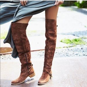 FREE PEOPLE Amorosa Suede Over the Knee BOOTS Otk